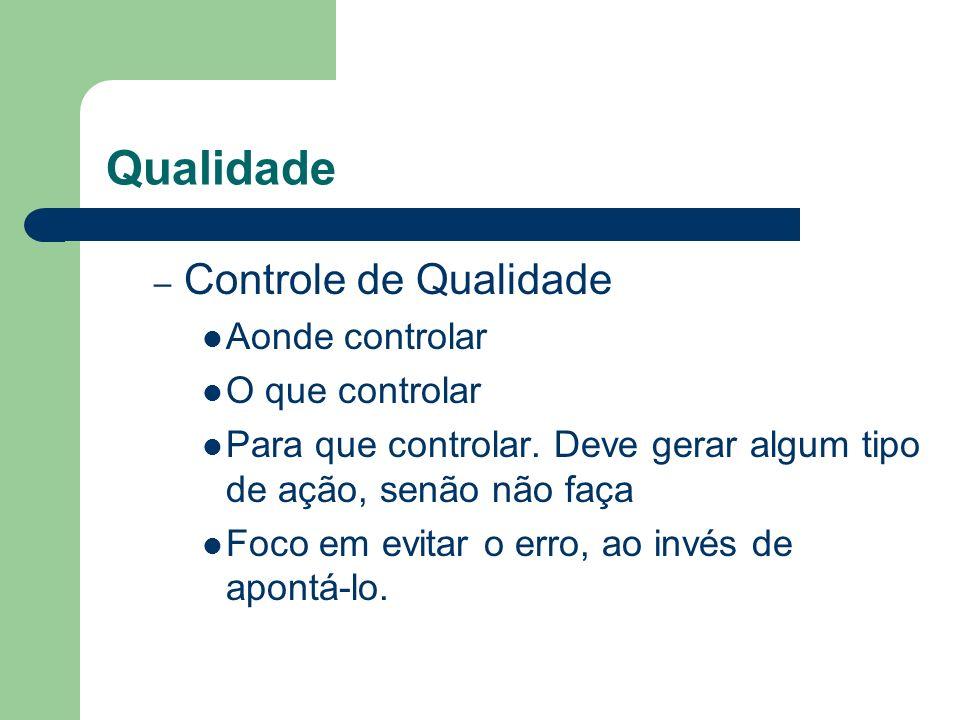 Qualidade Controle de Qualidade Aonde controlar O que controlar