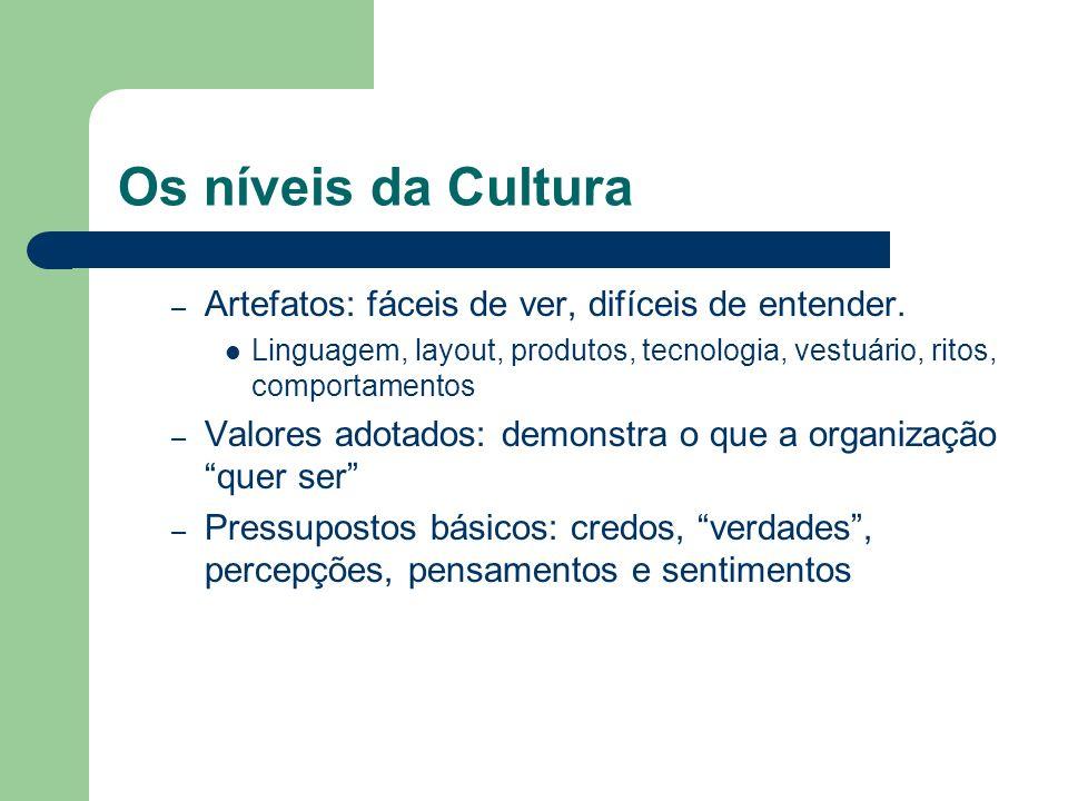 Os níveis da Cultura Artefatos: fáceis de ver, difíceis de entender.