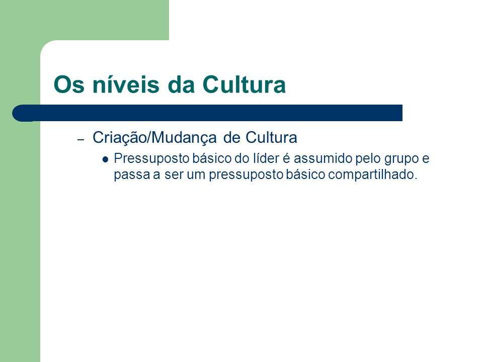 Os níveis da Cultura Criação/Mudança de Cultura