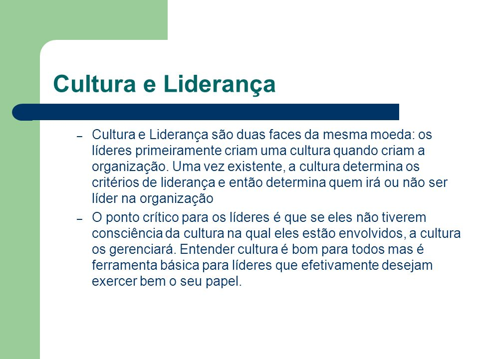 Cultura e Liderança