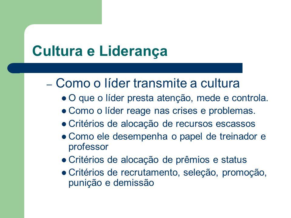 Cultura e Liderança Como o líder transmite a cultura