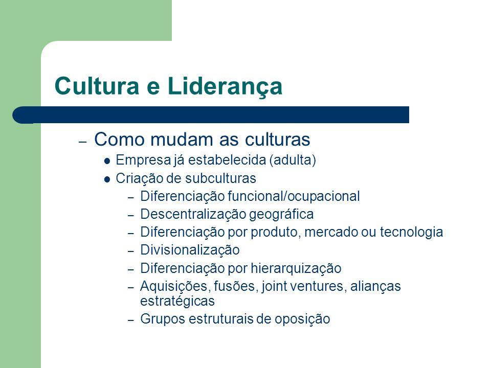 Cultura e Liderança Como mudam as culturas