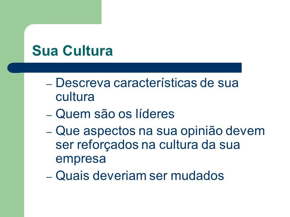 Sua Cultura Descreva características de sua cultura