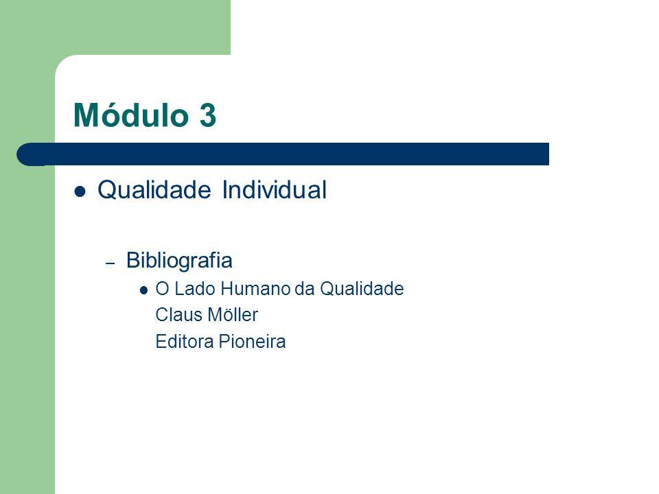 Módulo 3 Qualidade Individual Bibliografia O Lado Humano da Qualidade