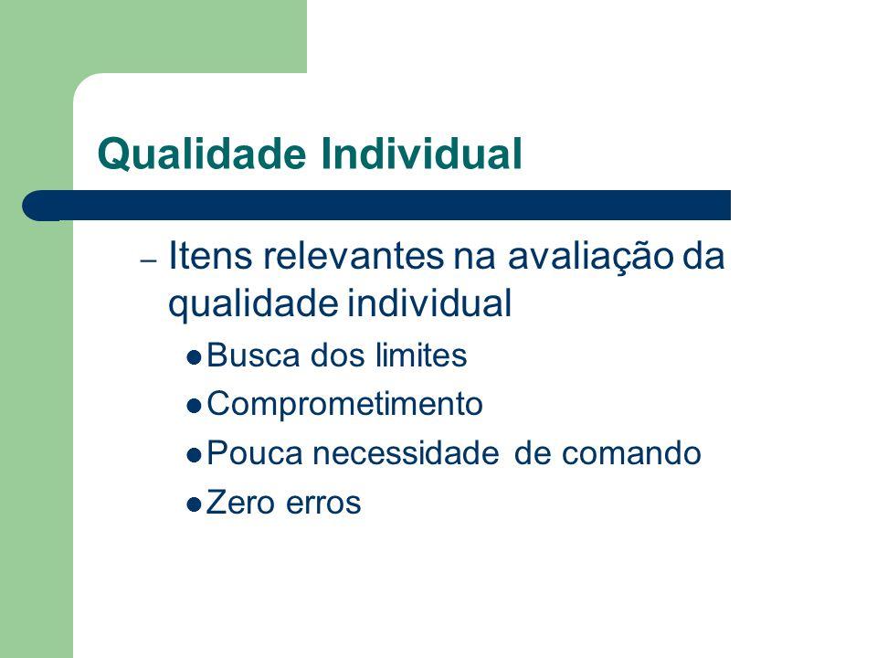 Qualidade Individual Itens relevantes na avaliação da qualidade individual. Busca dos limites. Comprometimento.