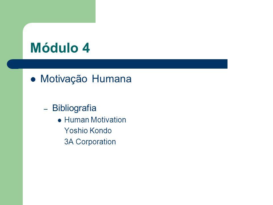 Módulo 4 Motivação Humana Bibliografia Human Motivation Yoshio Kondo
