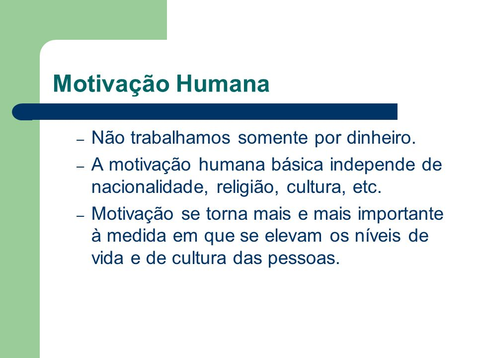 Motivação Humana Não trabalhamos somente por dinheiro.