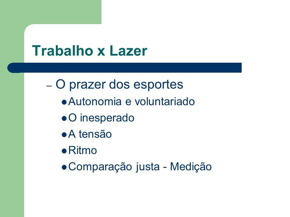 Trabalho x Lazer O prazer dos esportes Autonomia e voluntariado
