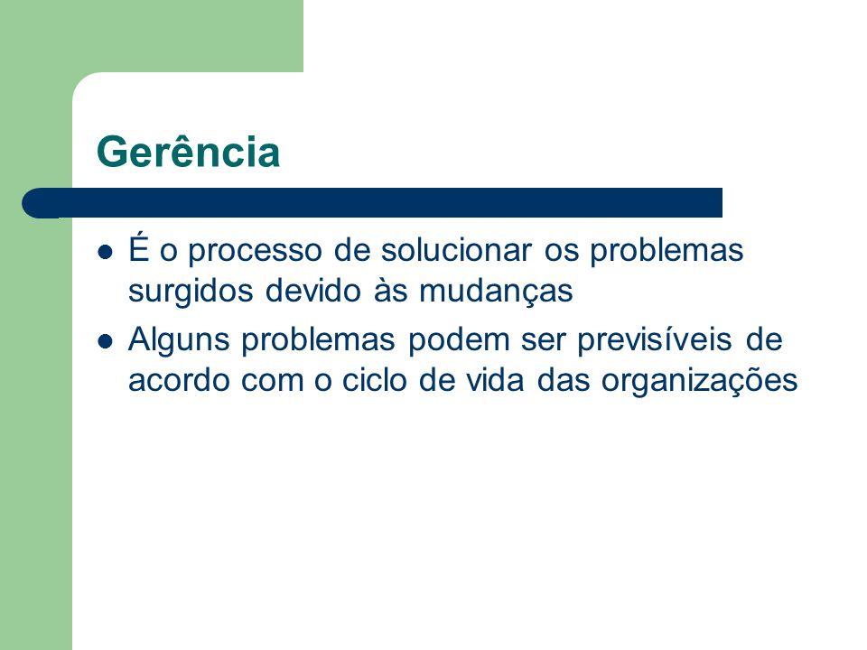 Gerência É o processo de solucionar os problemas surgidos devido às mudanças.