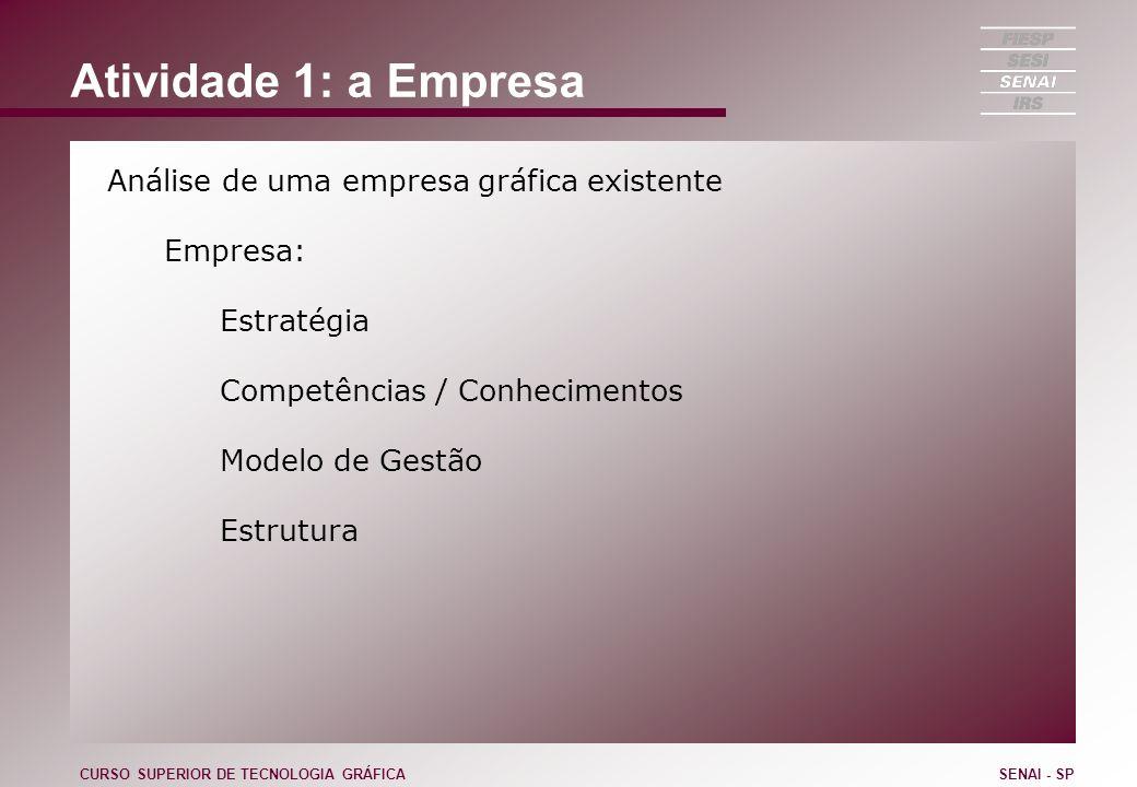 Atividade 1: a Empresa Análise de uma empresa gráfica existente