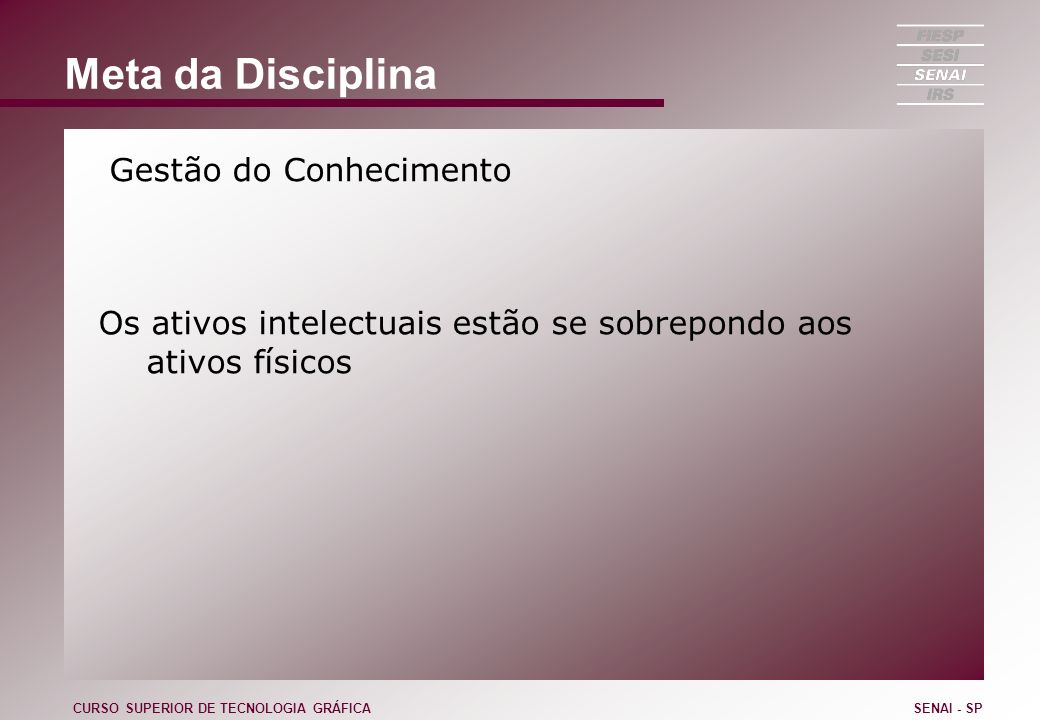 Meta da Disciplina Gestão do Conhecimento