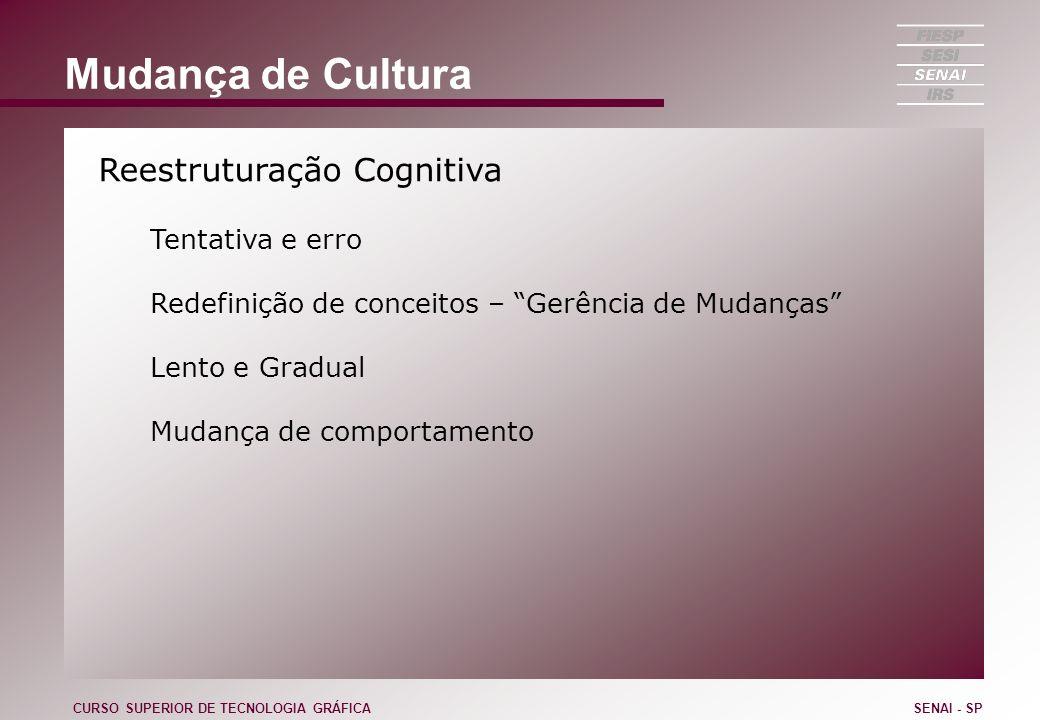 Mudança de Cultura Reestruturação Cognitiva Tentativa e erro
