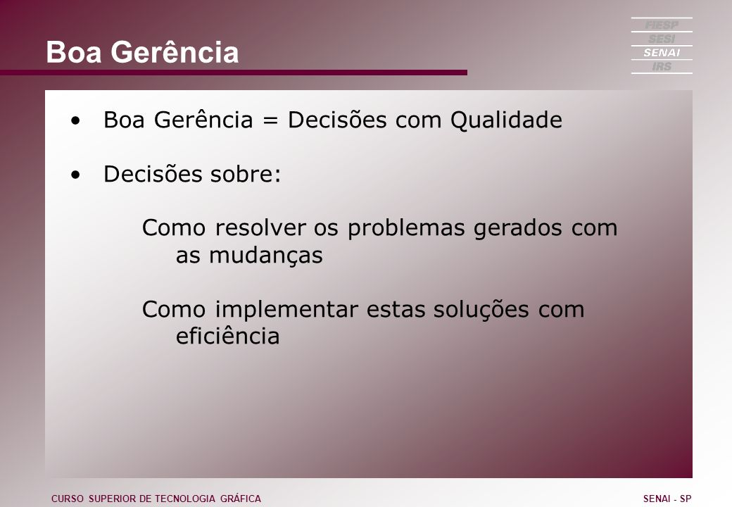 Boa Gerência Boa Gerência = Decisões com Qualidade Decisões sobre: