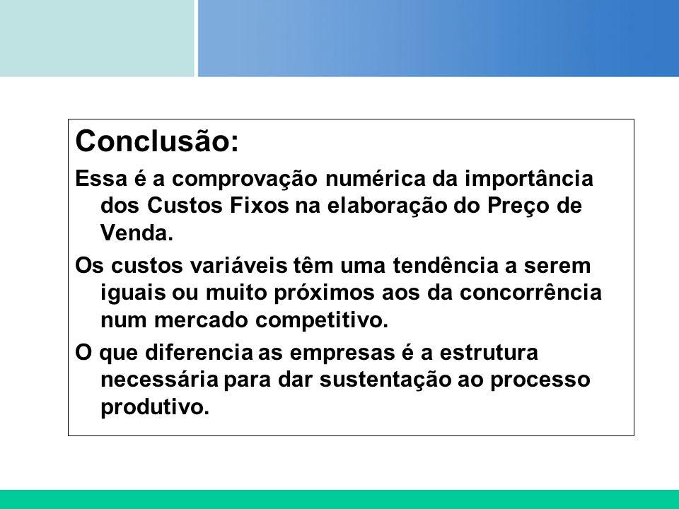 Conclusão: Essa é a comprovação numérica da importância dos Custos Fixos na elaboração do Preço de Venda.