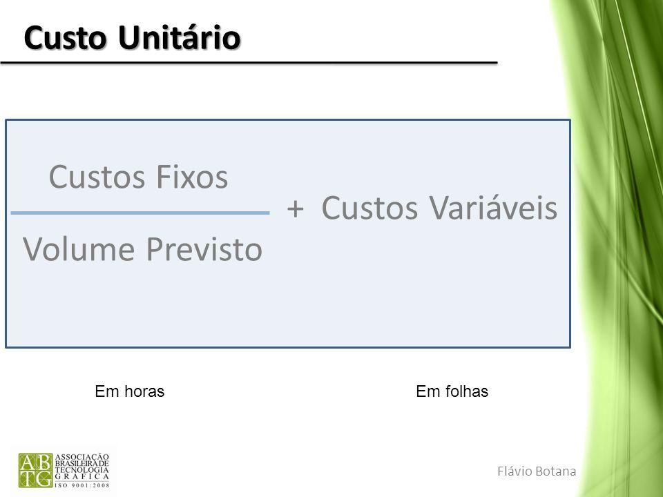 Custo Unitário Custos Fixos + Custos Variáveis Volume Previsto