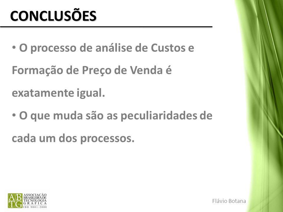 CONCLUSÕES O processo de análise de Custos e Formação de Preço de Venda é exatamente igual.