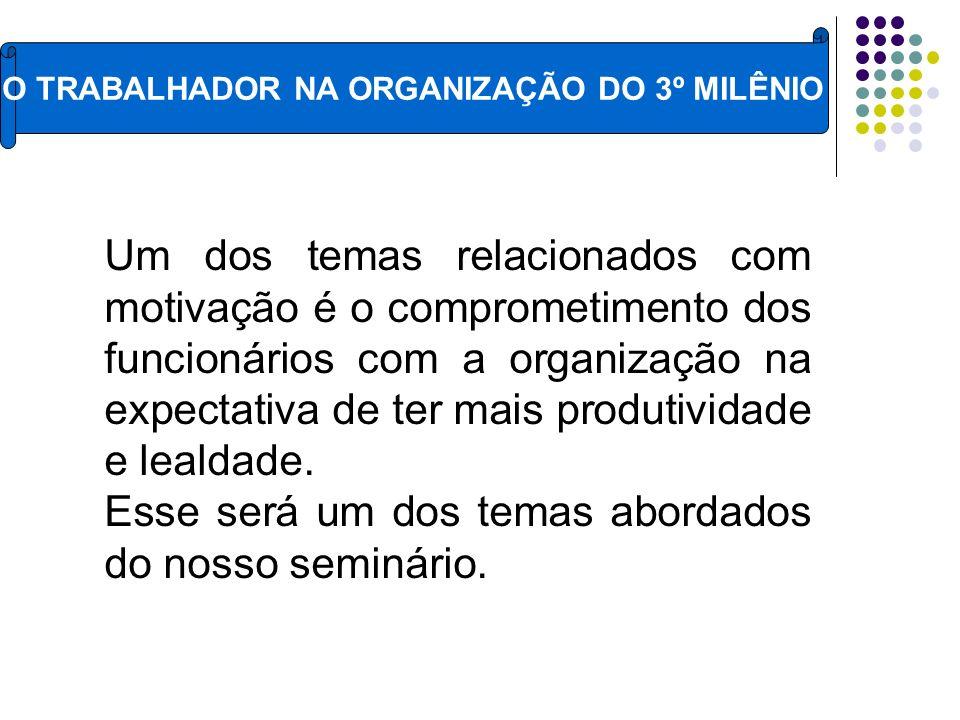 O TRABALHADOR NA ORGANIZAÇÃO DO 3º MILÊNIO