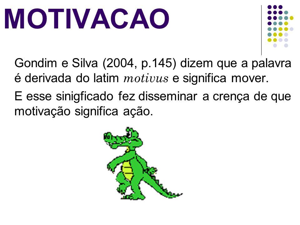 MOTIVACAOGondim e Silva (2004, p.145) dizem que a palavra é derivada do latim motivus e significa mover.