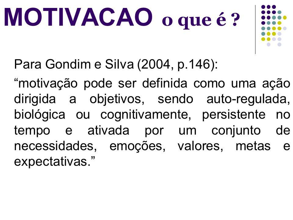 MOTIVACAO o que é Para Gondim e Silva (2004, p.146):