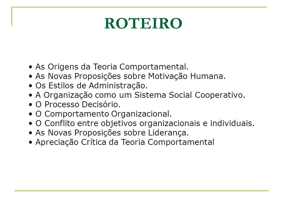 ROTEIRO As Origens da Teoria Comportamental.