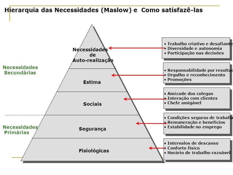 Hierarquia das Necessidades (Maslow) e Como satisfazê-las