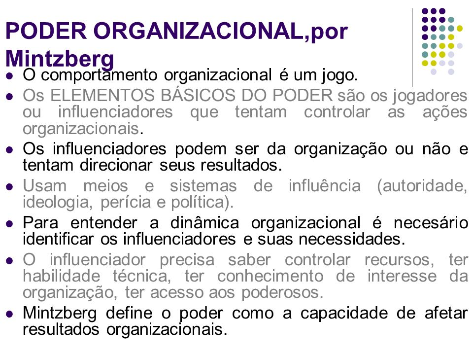 PODER ORGANIZACIONAL,por Mintzberg