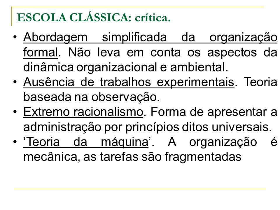 ESCOLA CLÁSSICA: crítica.