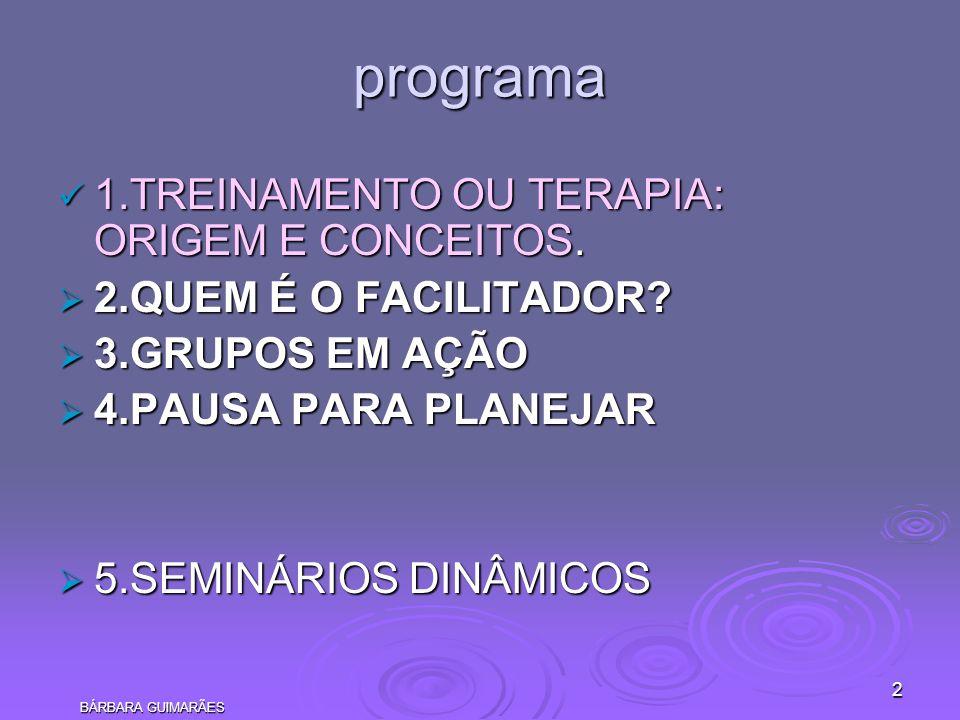 programa 1.TREINAMENTO OU TERAPIA: ORIGEM E CONCEITOS.