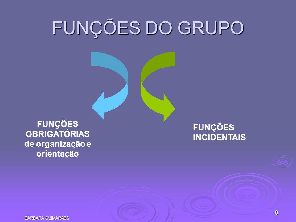 FUNÇÕES DO GRUPO FUNÇÕES FUNÇÕES OBRIGATÓRIAS INCIDENTAIS