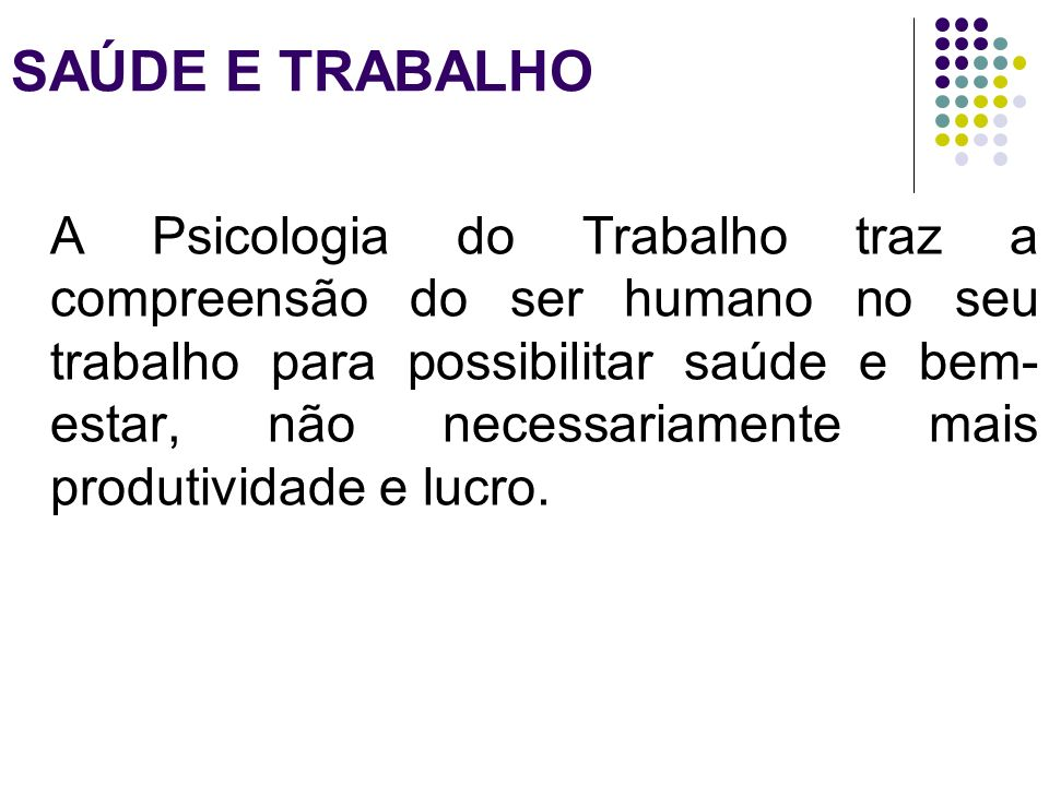 SAÚDE E TRABALHO