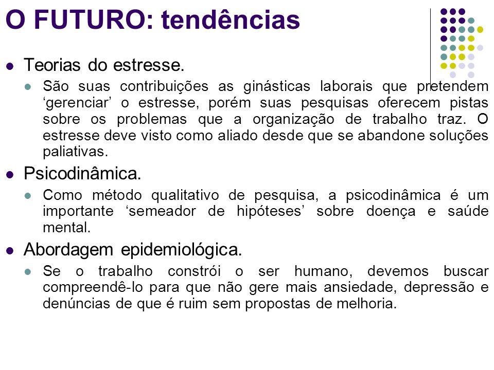 O FUTURO: tendências Teorias do estresse. Psicodinâmica.