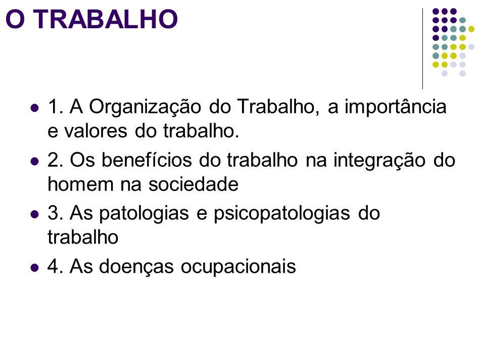 O TRABALHO 1. A Organização do Trabalho, a importância e valores do trabalho. 2. Os benefícios do trabalho na integração do homem na sociedade.