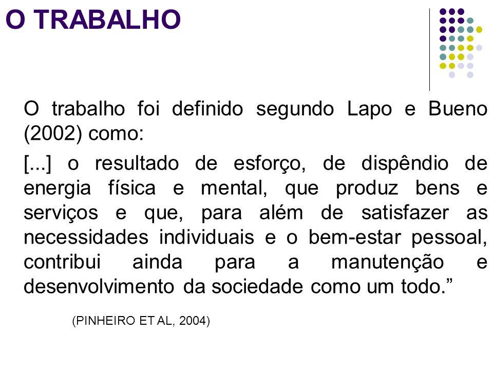 O TRABALHO O trabalho foi definido segundo Lapo e Bueno (2002) como: