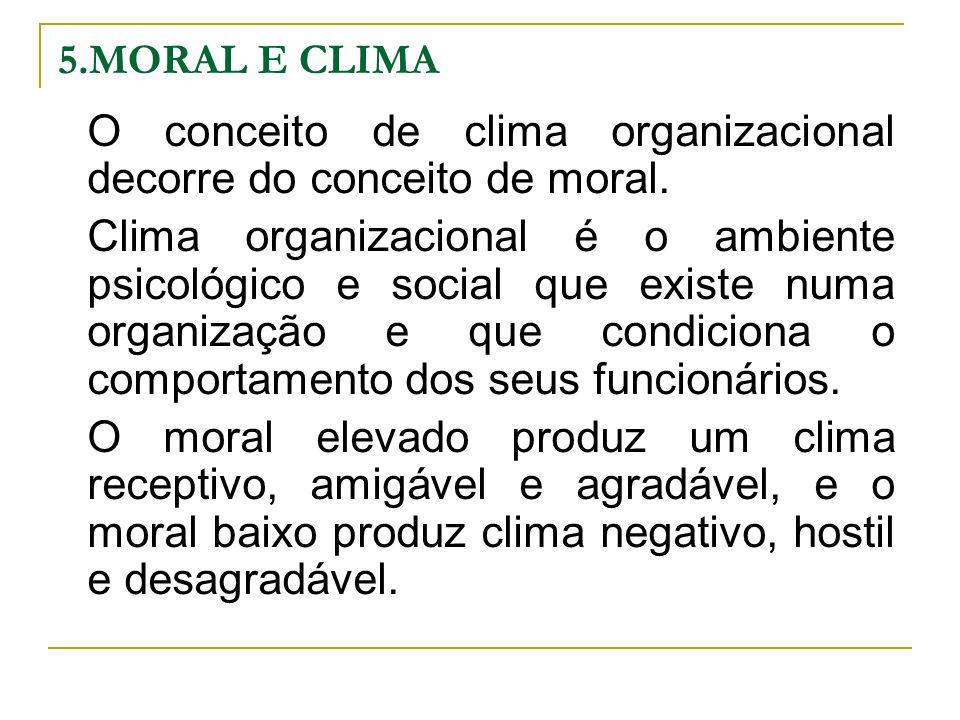O conceito de clima organizacional decorre do conceito de moral.