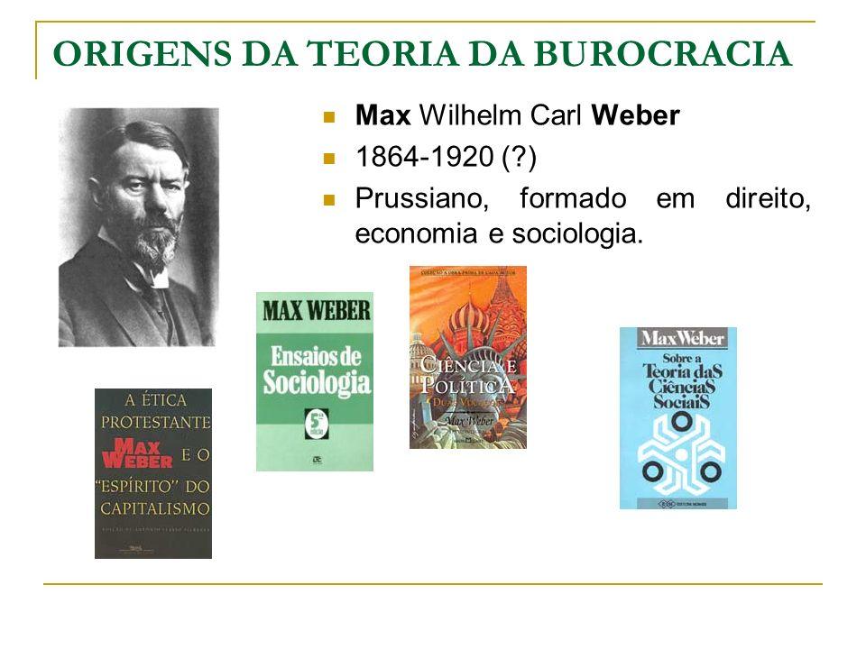 ORIGENS DA TEORIA DA BUROCRACIA