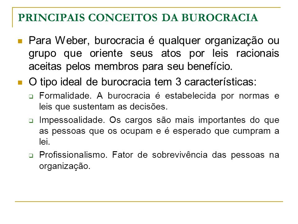 PRINCIPAIS CONCEITOS DA BUROCRACIA