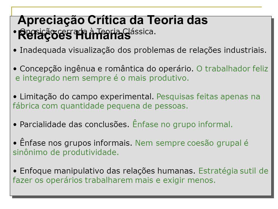 Apreciação Crítica da Teoria das Relações Humanas