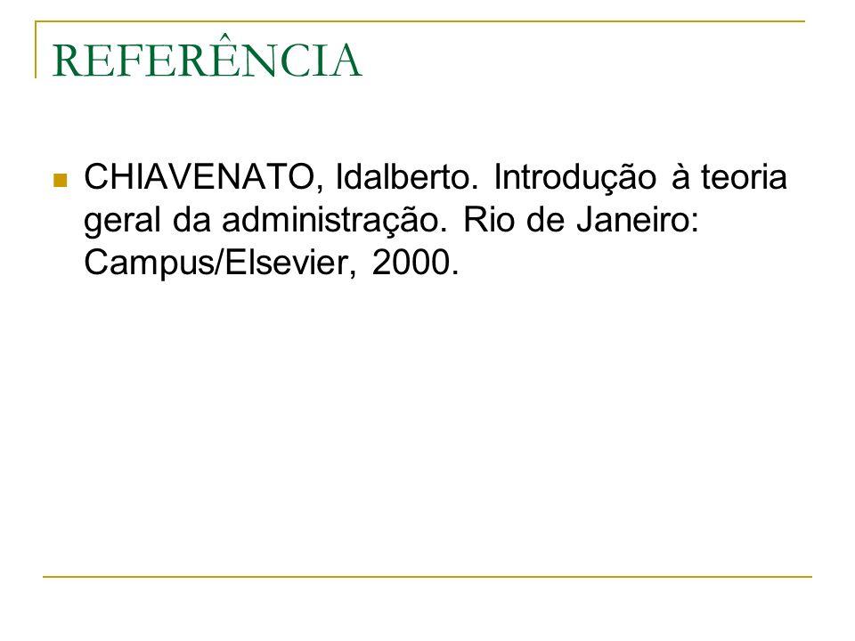 REFERÊNCIA CHIAVENATO, Idalberto. Introdução à teoria geral da administração.