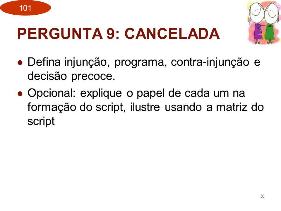 PERGUNTA 9: CANCELADA Defina injunção, programa, contra-injunção e decisão precoce.