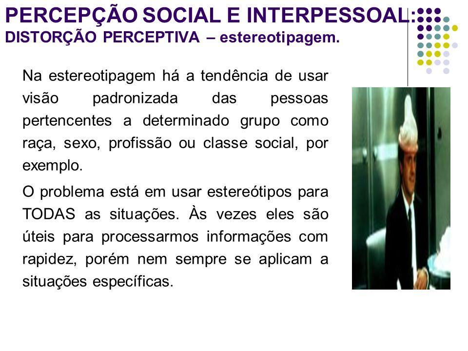PERCEPÇÃO SOCIAL E INTERPESSOAL: DISTORÇÃO PERCEPTIVA – estereotipagem.