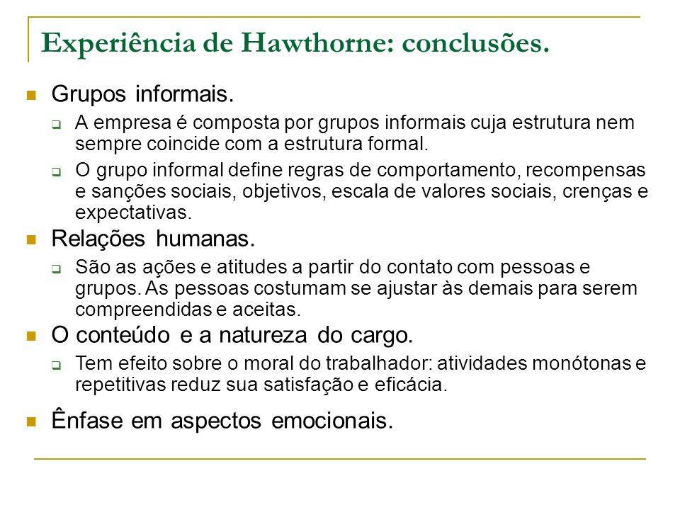 Experiência de Hawthorne: conclusões.