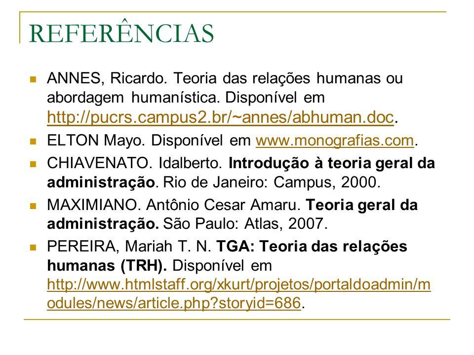 REFERÊNCIAS ANNES, Ricardo. Teoria das relações humanas ou abordagem humanística. Disponível em http://pucrs.campus2.br/~annes/abhuman.doc.