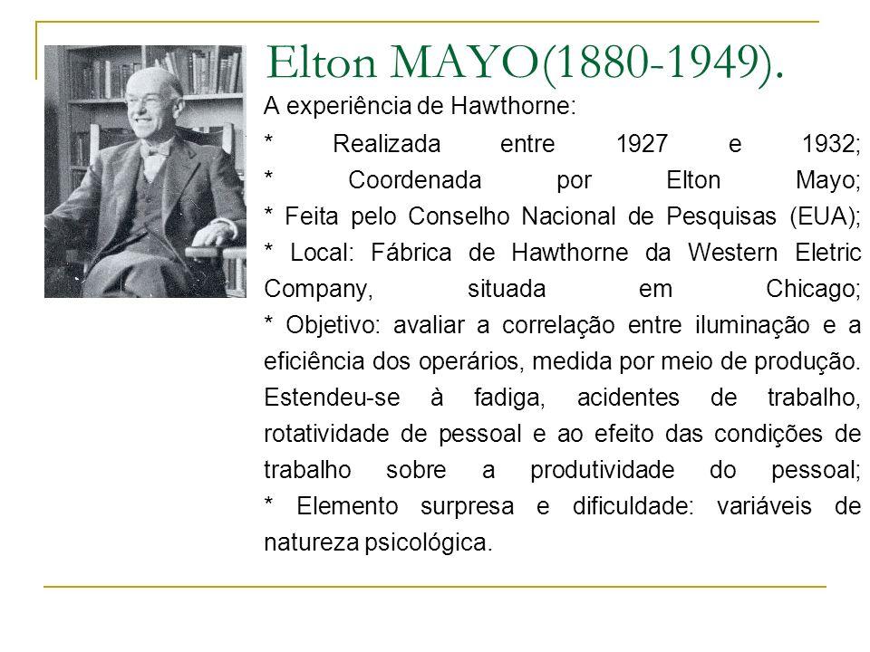 Elton MAYO(1880-1949). A experiência de Hawthorne: