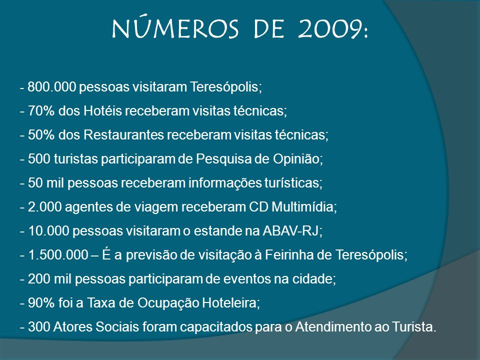 NÚMEROS DE 2009: 70% dos Hotéis receberam visitas técnicas;