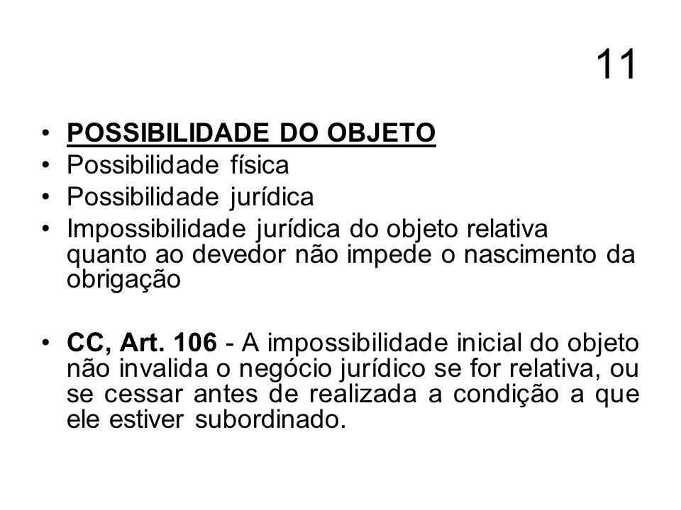 11 POSSIBILIDADE DO OBJETO Possibilidade física Possibilidade jurídica