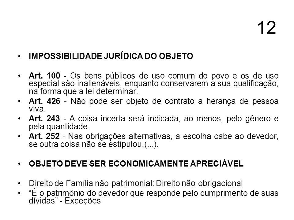 12 IMPOSSIBILIDADE JURÍDICA DO OBJETO