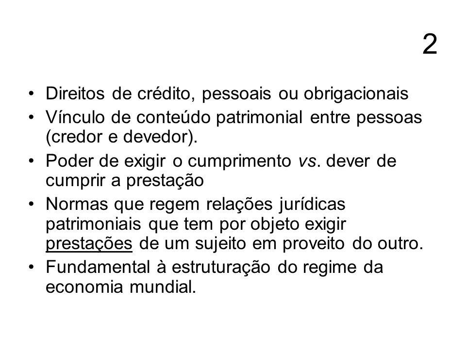 2 Direitos de crédito, pessoais ou obrigacionais