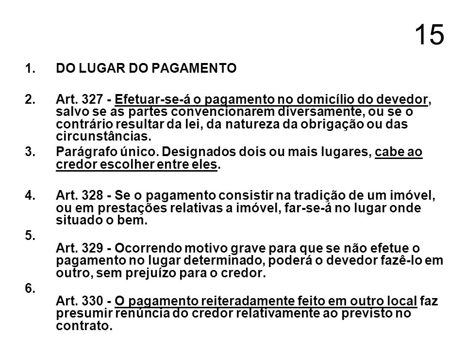 15DO LUGAR DO PAGAMENTO.