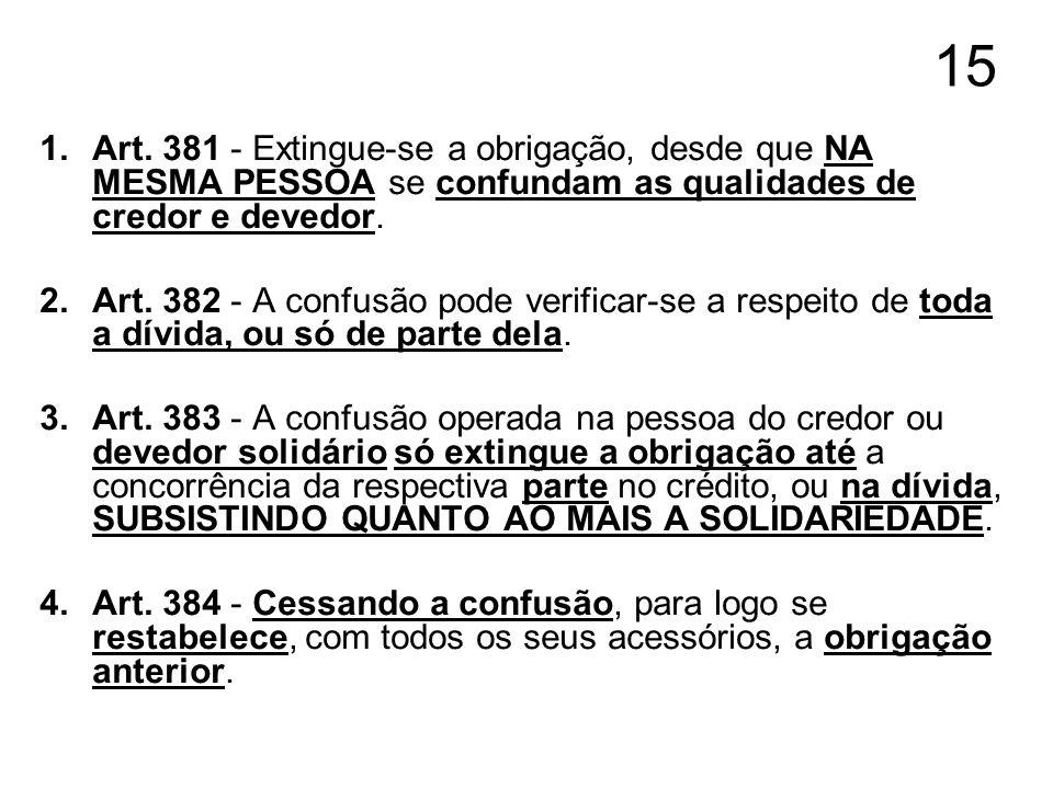 15 Art. 381 - Extingue-se a obrigação, desde que NA MESMA PESSOA se confundam as qualidades de credor e devedor.