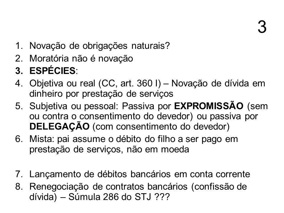 3 Novação de obrigações naturais Moratória não é novação ESPÉCIES: